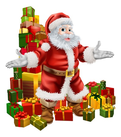 santa suit: An Illustration of Santa Claus with a big stack of Christmas Gifts behind him