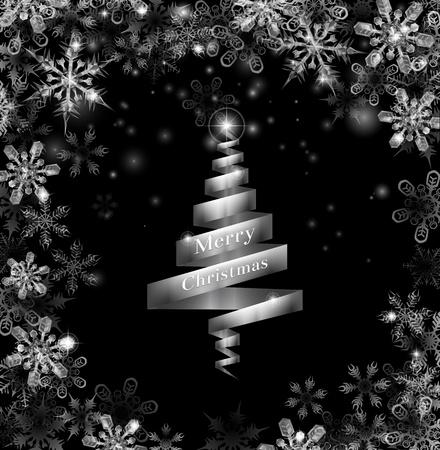christmass: Resumen cinta de plata Navidad ilustraci�n �rbol con hermosos copos de nieve en un borde alrededor del marco