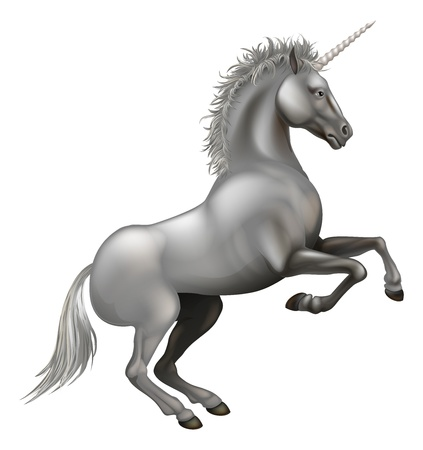 Illustration of a powerful unicorn rearing on its hind legs