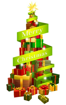 scroll up: A stack or pile of Christmas presents or gifts in the shape of a Christmas tree with a star shaped ornament or decoration on the top and a banner or scroll reading Merry Christmas round it  Illustration