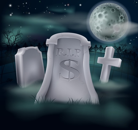 A grave in a graveyard with RIP and a dollar sign on it  Economy or financial concept  Vector