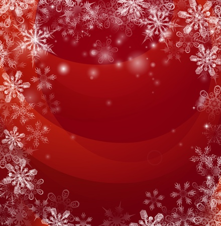 back ground: Illustration of an abstract red background with snow falling in the form of snowflakes forming a border or frame with copyspace in the centre  Illustration