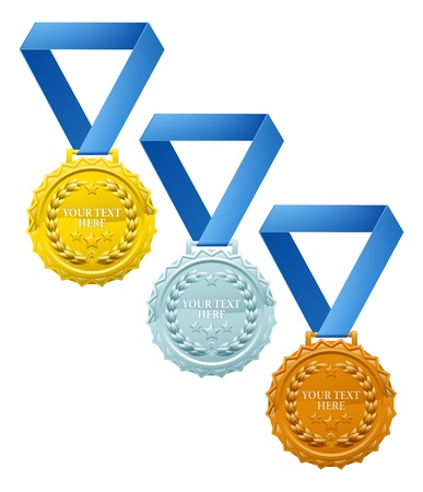 Three winners medals, bronze silver and gold, with laurel wreaths and space for your text Vector