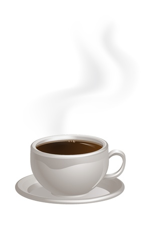 espreso: An illustration of a cup of steaming black Coffee on a saucer