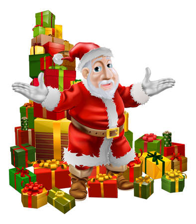 wrapped corner: A happy smiling cartoon Santa with arms out showing the viewer a pile of Christmas gifts