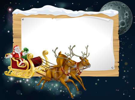 snow sled: Santa Christmas sleigh background with Santa riding in his sleigh delivering Christmas gifts Illustration
