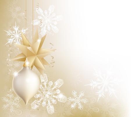 newyear: Un copo de nieve de oro y chucher�a de la Navidad de fondo decoraci�n con adornos colgantes, copos de nieve abstractos y cintas
