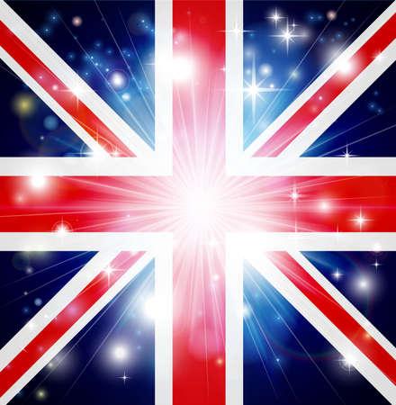 bandera reino unido: Union Jack bandera de Reino Unido con fondo estallido pirot�cnico o la luz y espacio de la copia en el centro Vectores