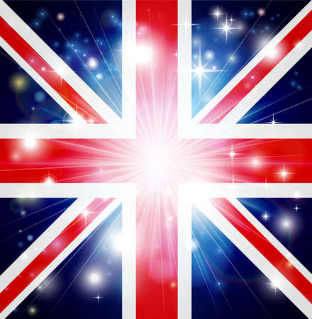 great britain flag: Union Jack flag of United Kingdom background with pyrotechnic or light burst and copy space in the centre