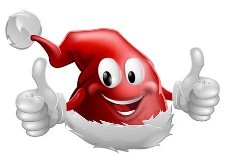 산타 모자: 만화 크리스마스 산타 모자 문자는 엄지 손가락을 하 고 미소의 그림 일러스트