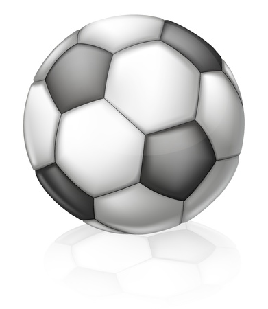 An illustration of a classic black and white Soccer ball with hexagon and pentagon pattern Vector
