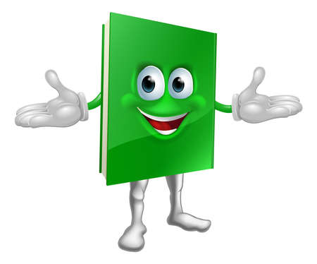 palm reading: Happy cartoon green book man illustration
