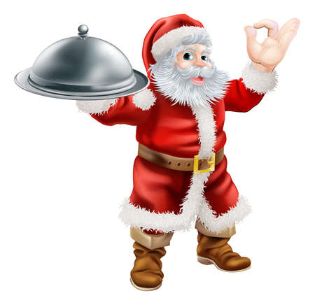 An illustration of Santa Claus doing a chefs perfect sign with his hand and holding a covered tray of food