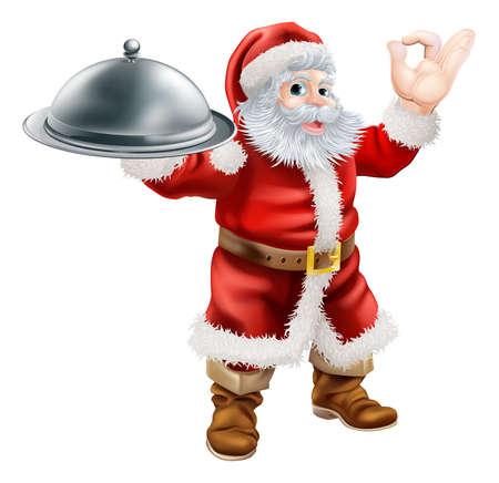 chef caricatura: Una ilustración de Santa Claus haciendo signo perfecto de un cocinero con una mano y sosteniendo una bandeja cubierta de los alimentos