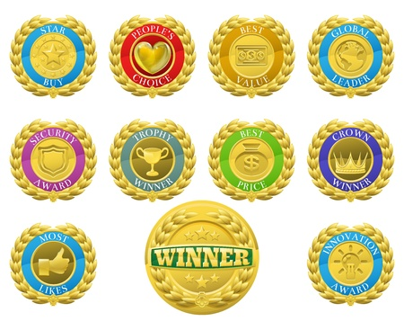 Golden winners medals like those used for product or consumer reviews or tests or for product descriptions Vector