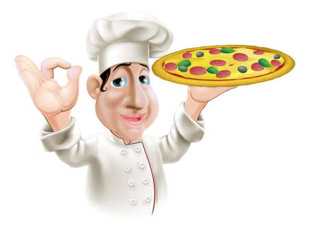 A happy Italian pizza chef doing an okay gesture and holding a tasty pizza.  Vector