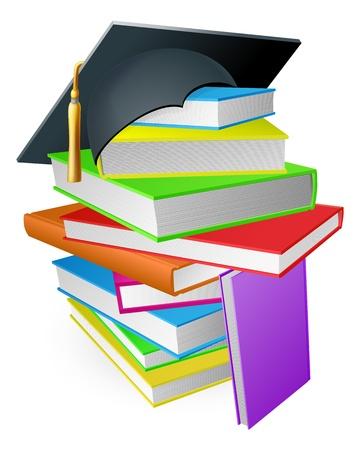 mortero: Concepto de la educaci�n, una pila de libros con un sombrero de graduaci�n mortero junta en la parte superior Vectores