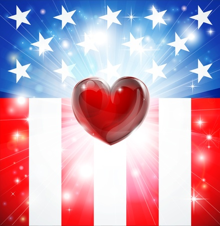 july: American flag patriotic background with heart, concept for love of country. Great for 4th of July or military themes. Illustration