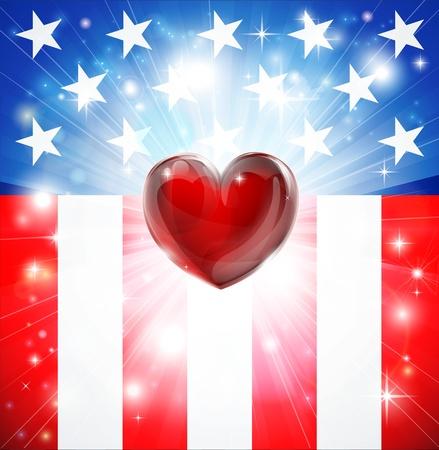 juli: Amerikaanse vlag patriottische achtergrond met hart, concept voor vaderlandsliefde. Groot voor 4 juli of militaire thema's.