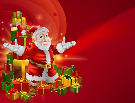 A red abstract Christmas background with chubby cheerful cartoon Santa and Christmas gifts. Stock Vector - 16520350