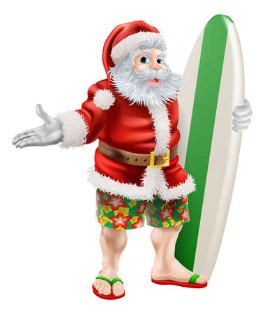 An illustration of  a cartoon Santa in beach board shorts holding a surfboard  Illustration