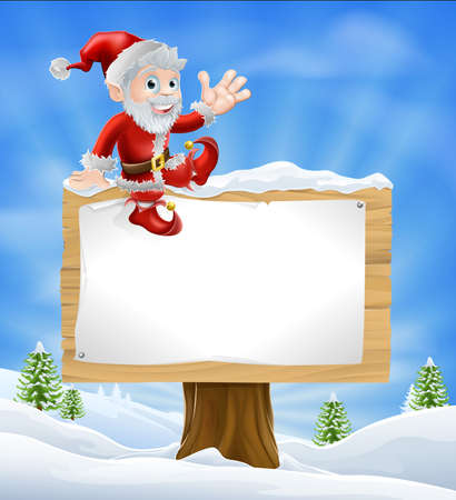 clause: Illustration of happy cartoon Santa Claus sitting on a Christmas sign in winter landscape and waving