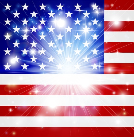 armed services: Flag of America background with pyrotechnic or light burst and copy space in the centre Illustration