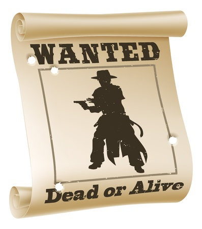 "fugitive: An illustration of a wanted poster with text ""wanted dead or alive"", cowboy silhouette and bullet holes"