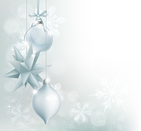 back ground: A blue and silver snowflake and Christmas bauble decoration background with hanging ornaments, abstract snowflakes and bokeh