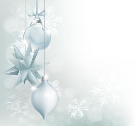 christmass: Un copo de nieve azul y plata y la chucher�a de la Navidad de fondo decoraci�n con adornos colgantes, los copos de nieve abstractos y bokeh