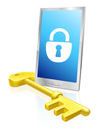 locked icon: Illustration of a mobile phone with lock symbol on the screen and large golden key. A security concept.