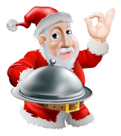 gourmet dinner: A cartoon happy Santa  doing a chefs perfect sign with his hand and holding a covered metal plate of food Illustration