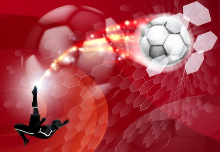 An abstract red soccer sport background with detailed silhouette of a soccer player kicking a soccer ball, smashing it through an abstract goal net  Vector