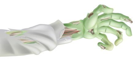 rothadó: Az ábra egy ijesztő elérte Halloween zombi karját Illusztráció