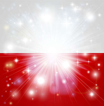 back ground: Flag of Poland background with pyrotechnic or light burst and copy space in the centre
