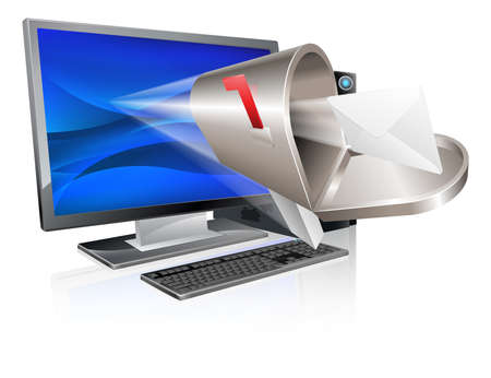 e new: Desktop computer with mailbox and letter envelope flying out of screen, computer email message concept