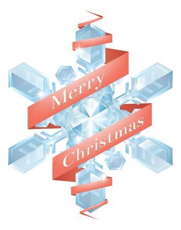 Illustration of a Christmas snowflake or snowflake Christmas tree decoration with Merry Christmas ribbon Stock Vector - 16654980