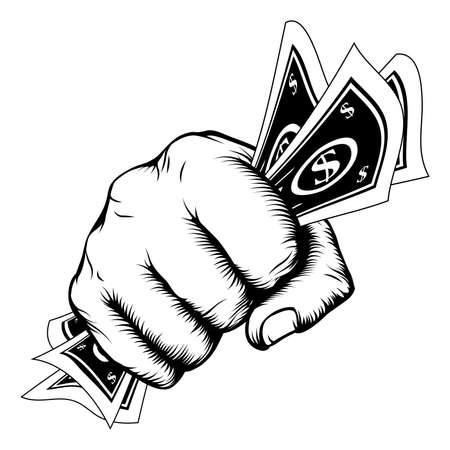 wages: Hand in a fist with cash dollar bills illustration in woodcut retro style.