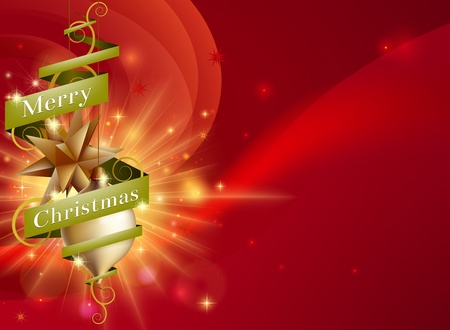 back ground: A Merry Christmas red ribbon background with hanging ornament tree decorations, abstract light and green scroll ribbon with Merry Christmas text Illustration