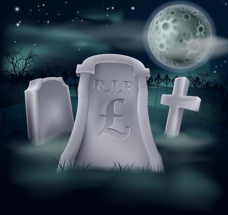 libra esterlina: Una tumba en un cementerio con RIP y una almohadilla en él Economía o concepto financiero