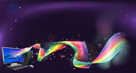 An abstract background with desktop pc computer with a rainbow flowing out of it Stock Vector - 16720333
