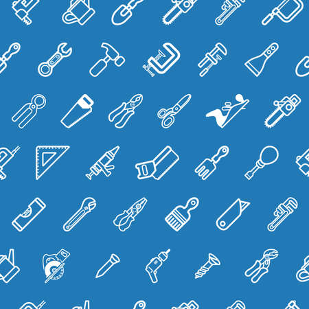 A tilable seamless tools background texture with lots of drawings of different tools Vector