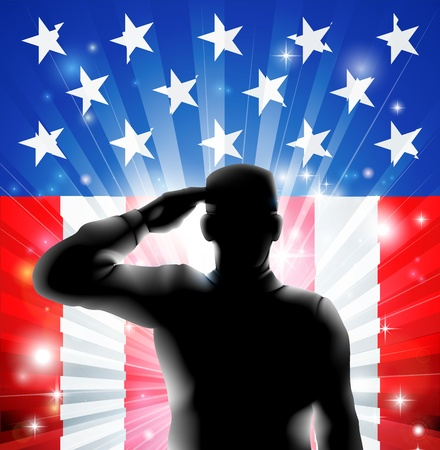 armed services: An American US military soldier from the armed forces in silhouette in uniform saluting in front of an American flag background of red white and blue stars and stripes
