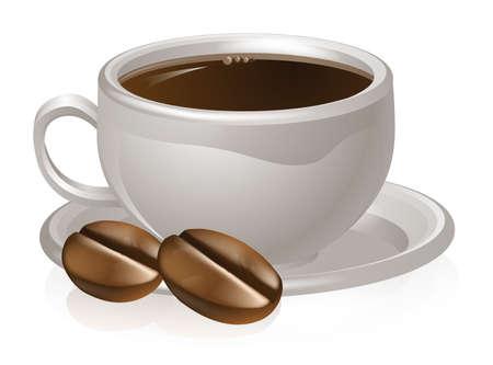 chicchi caff� su sfondo bianco: Illustrazione di una tazza di caff� in grani e caff� con tazza di caff� bianco e piattino