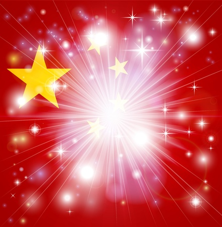 people's republic of china: Flag of China background with pyrotechnic or light burst and copy space in the centre