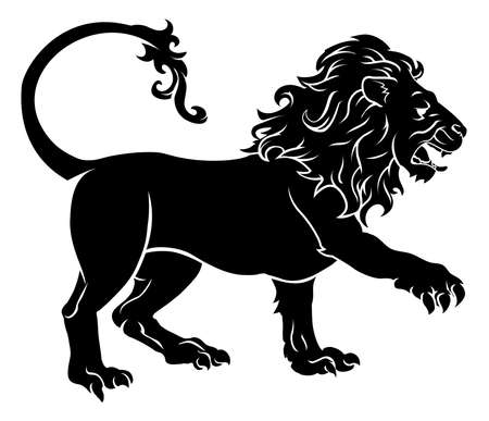 An illustration of a stylised black lion perhaps a lion tattoo Vector