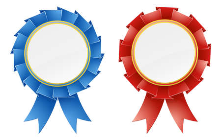 Red and blue rosette medal award design elements with ribbons and blank copyspace in the center Stock Vector - 16786217