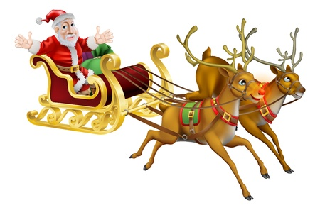 sledge: Illustration of Santa Claus in his Christmas sled being pulled by red nosed reindeer  Illustration