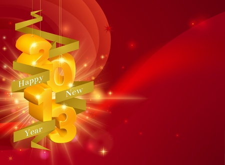twenty thirteen: Red Happy New Year 2013 decorations background with ribbon saying Happy New Year and gold decorations reading 2013