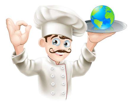 chapeau chef: Chef de pr�senter le globe du monde sur une plaque. Peut-�tre le concept d'affaires pour avoir du monde sur la plaque ou le succ�s et l'occasion ou encore de la nourriture ou de la cuisine du monde